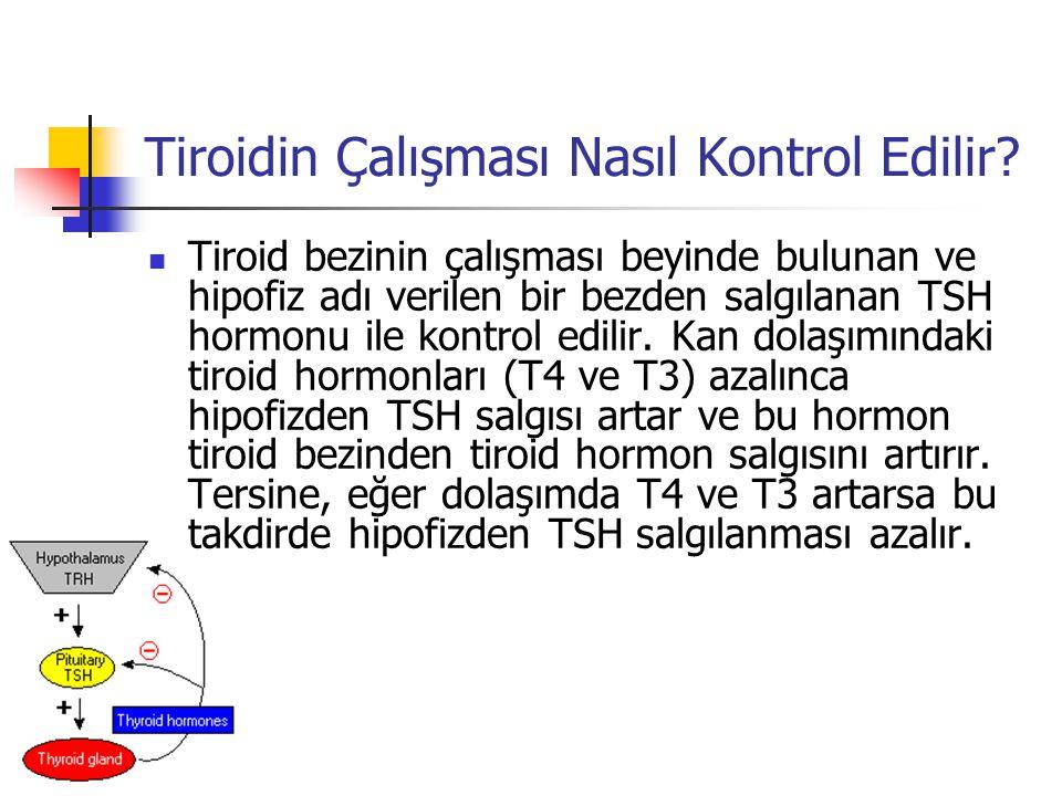 Tiroidin Çalışması Nasıl Kontrol Edilir?  Tiroid bezinin çalışması beyinde bulunan ve hipofiz adı verilen bir bezden salgılanan TSH hormonu ile kontr