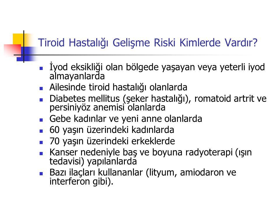 Hipertiroidizm  Tanı Hipertiroidi tanısı için kanda tiroid hormonlarına (T4 ve T3) ve TSH düzeyine bakılır.