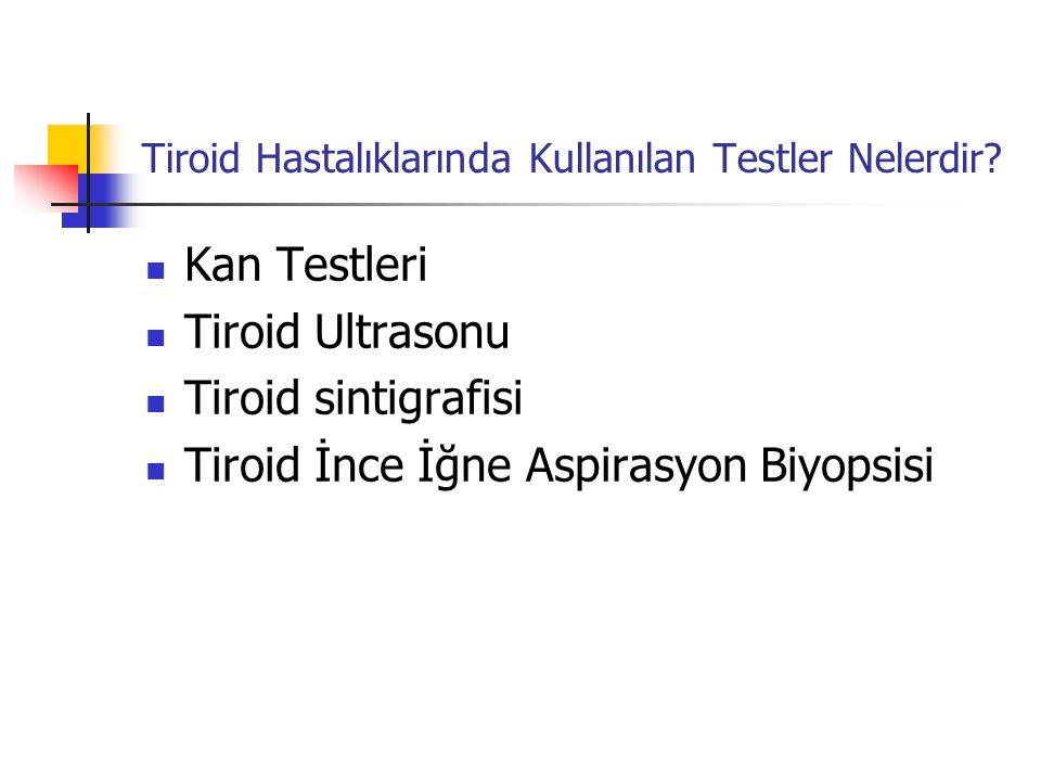 Kan Testleri  Sıklıkla kullanılan testler serbest T3, serbest T4 ve TSH hormonlarının kan düzeylerinin ölçülmesidir.