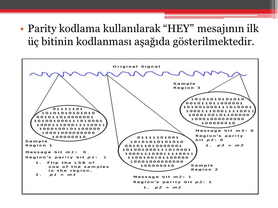 """•Parity kodlama kullanılarak """"HEY"""" mesajının ilk üç bitinin kodlanması aşağıda gösterilmektedir."""