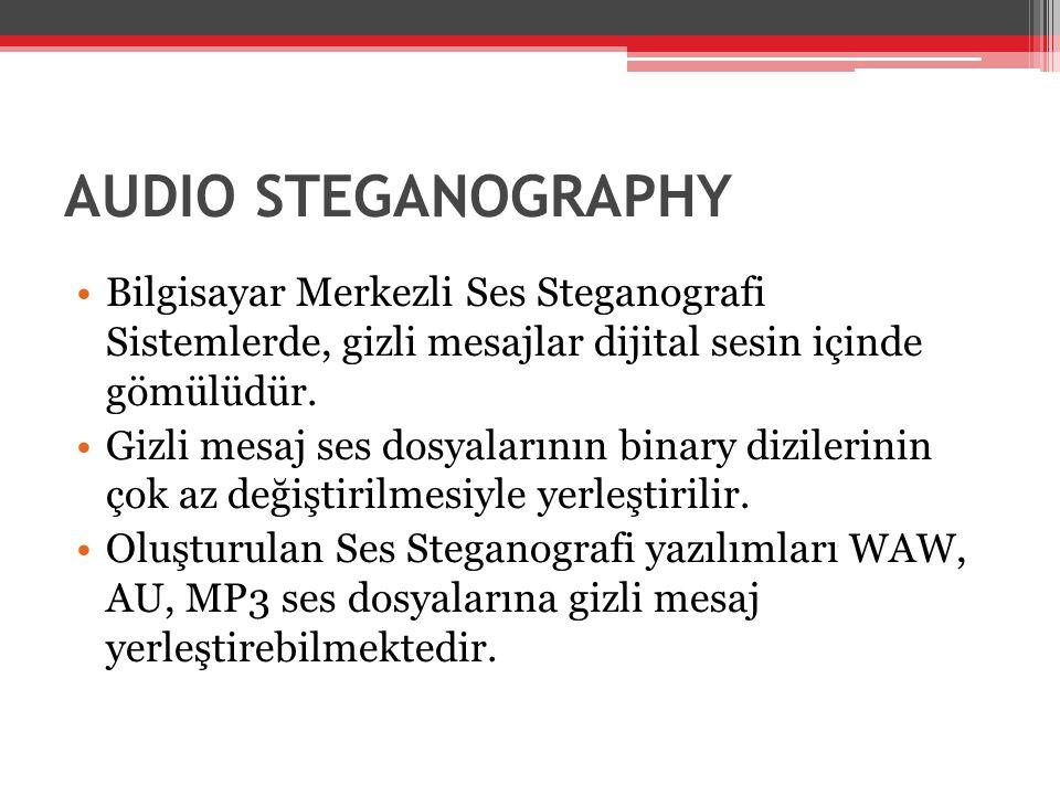 AUDIO STEGANOGRAPHY •Bilgisayar Merkezli Ses Steganografi Sistemlerde, gizli mesajlar dijital sesin içinde gömülüdür. •Gizli mesaj ses dosyalarının bi