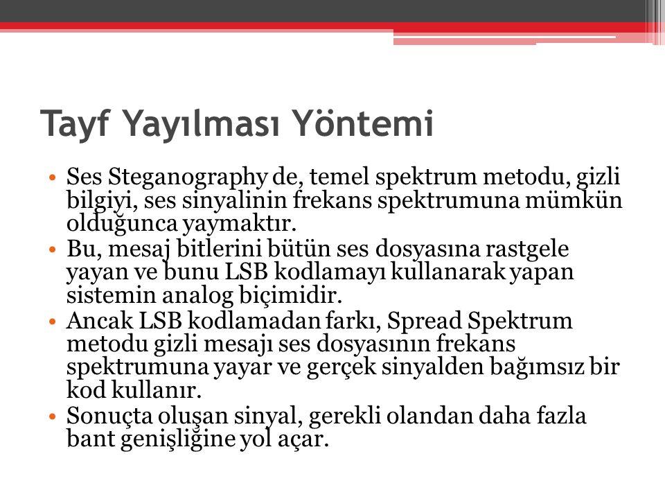 Tayf Yayılması Yöntemi •Ses Steganography de, temel spektrum metodu, gizli bilgiyi, ses sinyalinin frekans spektrumuna mümkün olduğunca yaymaktır. •Bu