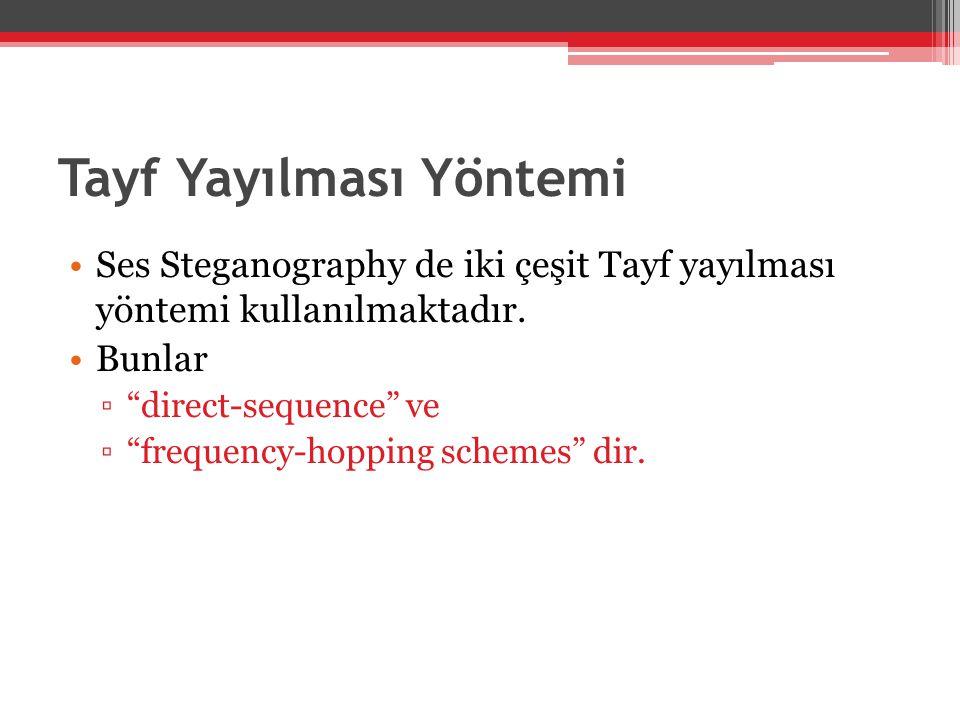 """Tayf Yayılması Yöntemi •Ses Steganography de iki çeşit Tayf yayılması yöntemi kullanılmaktadır. •Bunlar ▫""""direct-sequence"""" ve ▫""""frequency-hopping sche"""