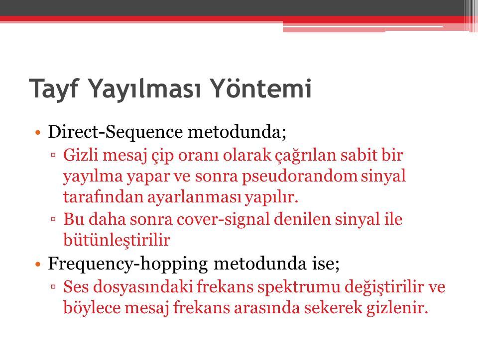 Tayf Yayılması Yöntemi •Direct-Sequence metodunda; ▫Gizli mesaj çip oranı olarak çağrılan sabit bir yayılma yapar ve sonra pseudorandom sinyal tarafın