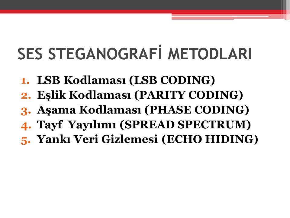 1.LSB Kodlaması (LSB CODING) 2.Eşlik Kodlaması (PARITY CODING) 3.Aşama Kodlaması (PHASE CODING) 4.Tayf Yayılımı (SPREAD SPECTRUM) 5.Yankı Veri Gizleme