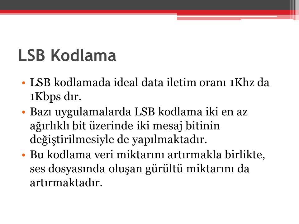 LSB Kodlama •LSB kodlamada ideal data iletim oranı 1Khz da 1Kbps dır. •Bazı uygulamalarda LSB kodlama iki en az ağırlıklı bit üzerinde iki mesaj bitin