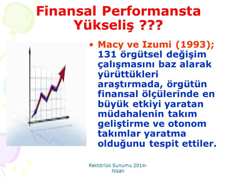 Rektörlük Sunumu 2014- Nisan ??? Finansal Performansta Yükseliş ??? •Macy ve Izumi (1993); 131 örgütsel değişim çalışmasını baz alarak yürüttükleri ar