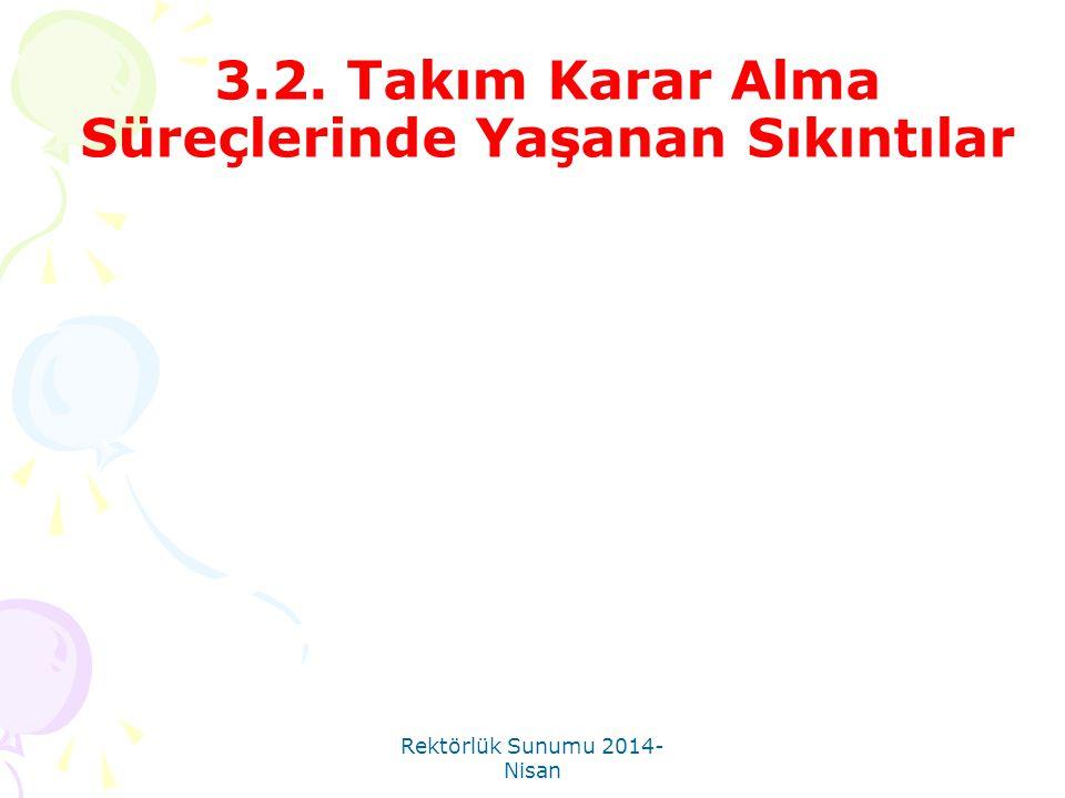 Rektörlük Sunumu 2014- Nisan 3.2. Takım Karar Alma Süreçlerinde Yaşanan Sıkıntılar