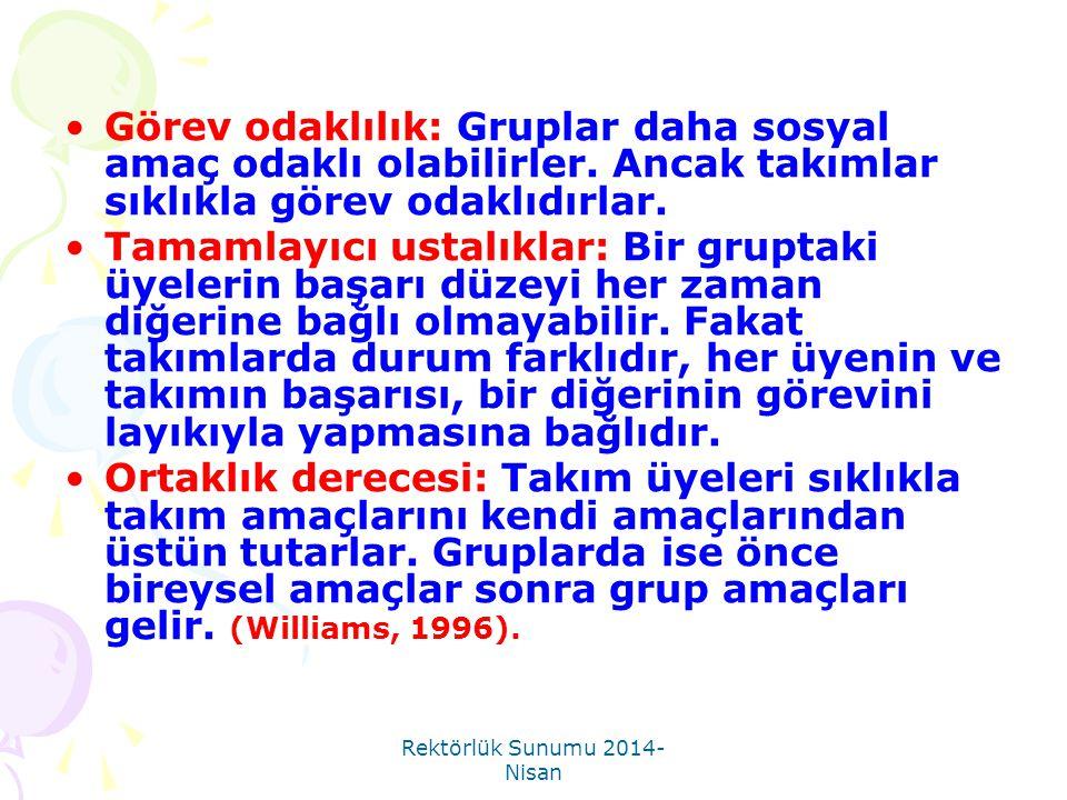 Rektörlük Sunumu 2014- Nisan 2.Neden Takım Çalışması.