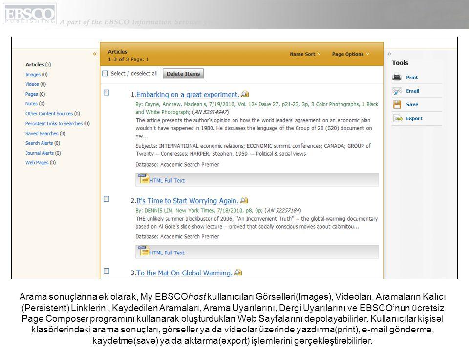 Arama sonuçlarına ek olarak, My EBSCOhost kullanıcıları Görselleri(Images), Videoları, Aramaların Kalıcı (Persistent) Linklerini, Kaydedilen Aramaları