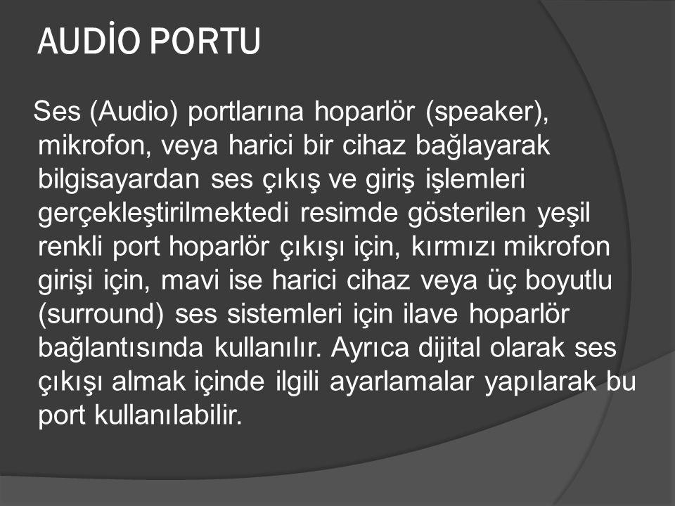AUDİO PORTU Ses (Audio) portlarına hoparlör (speaker), mikrofon, veya harici bir cihaz bağlayarak bilgisayardan ses çıkış ve giriş işlemleri gerçekleş