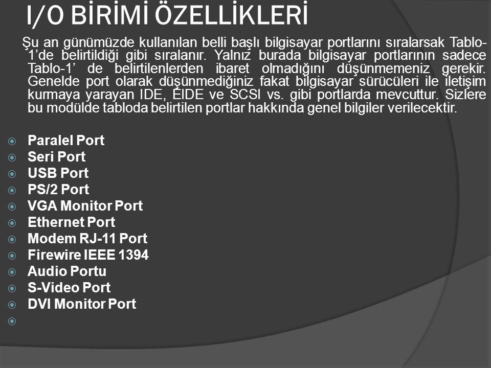 PARALEL PORT Paralel Port ilk olarak Apple bilgisayarlar için saniyede yaklaşık 150K' lık bilgi veren ve sadece çıkış için tasarlanmış arabirim kartı olarak üretilmiştir.