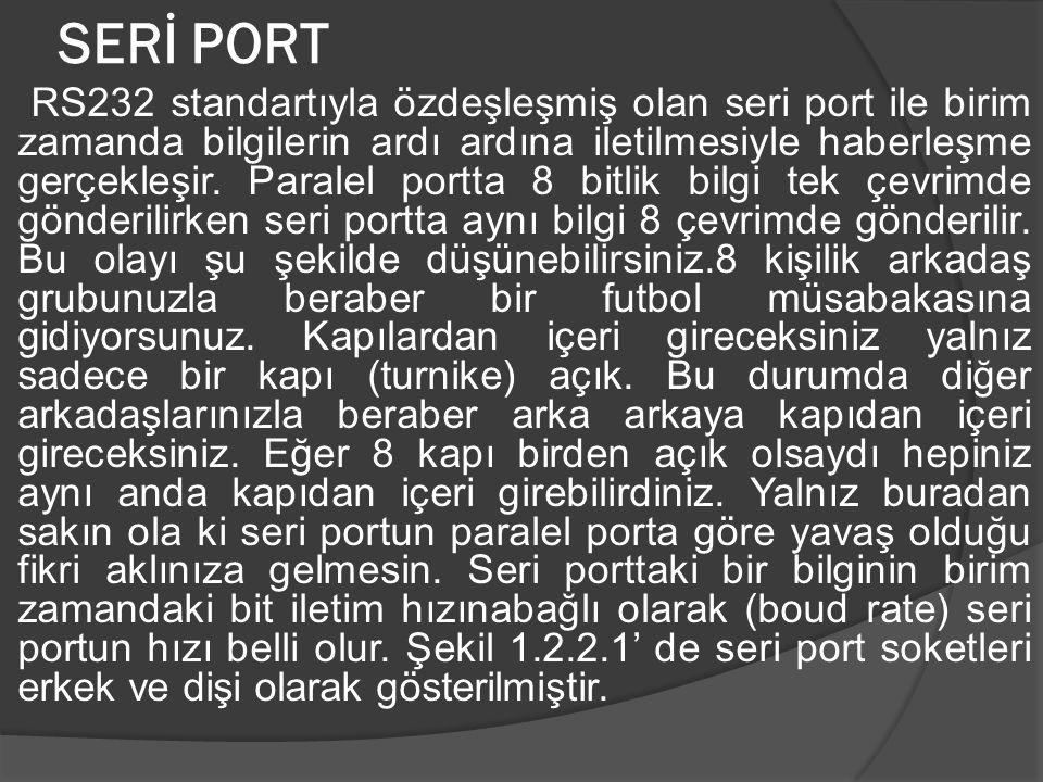 SERİ PORT RS232 standartıyla özdeşleşmiş olan seri port ile birim zamanda bilgilerin ardı ardına iletilmesiyle haberleşme gerçekleşir. Paralel portta