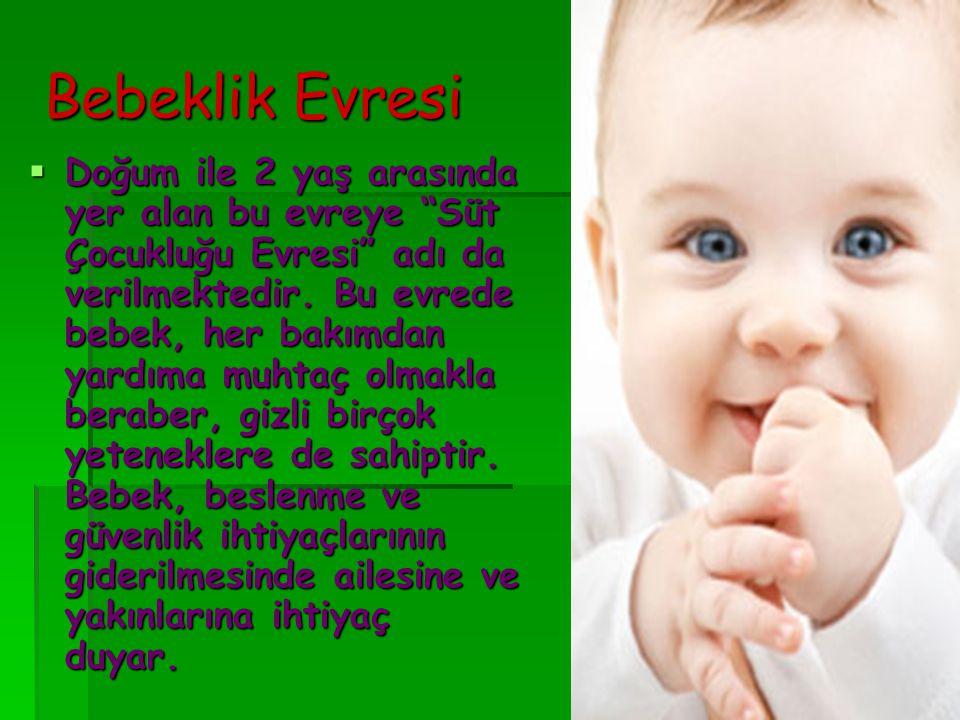 """Bebeklik Evresi  Doğum ile 2 yaş arasında yer alan bu evreye """"Süt Çocukluğu Evresi"""" adı da verilmektedir. Bu evrede bebek, her bakımdan yardıma muhta"""