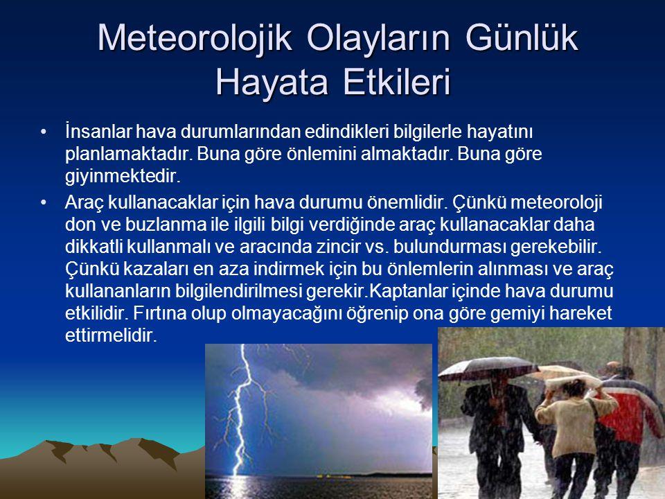 Meteorolojik Olayların Günlük Hayata Etkileri Meteorolojik Olayların Günlük Hayata Etkileri •İnsanlar hava durumlarından edindikleri bilgilerle hayatı