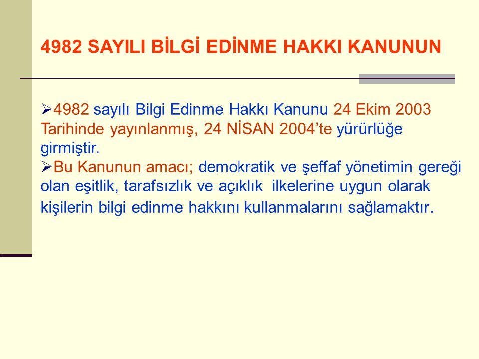 4982 SAYILI BİLGİ EDİNME HAKKI KANUNUN  4982 sayılı Bilgi Edinme Hakkı Kanunu 24 Ekim 2003 Tarihinde yayınlanmış, 24 NİSAN 2004'te yürürlüğe girmişti