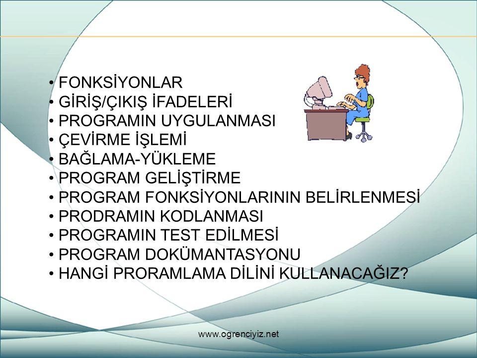 Fonksiyonlar, bir sonuç üretecek hesaplamaları yapmak için kullanılan program parçalarıdır.