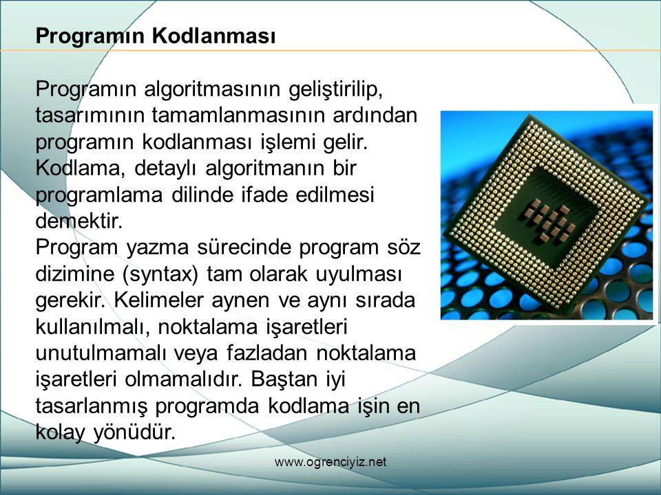 Programın Kodlanması Programın algoritmasının geliştirilip, tasarımının tamamlanmasının ardından programın kodlanması işlemi gelir. Kodlama, detaylı a