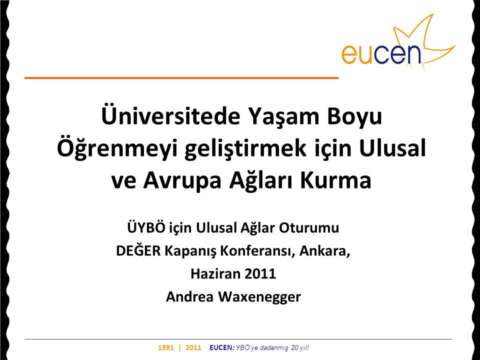 1991 | 2011 EUCEN: YBÖ'ye dadanmış 20 yıl! Üniversitede Yaşam Boyu Öğrenmeyi geliştirmek için Ulusal ve Avrupa Ağları Kurma ÜYBÖ için Ulusal Ağlar Otu