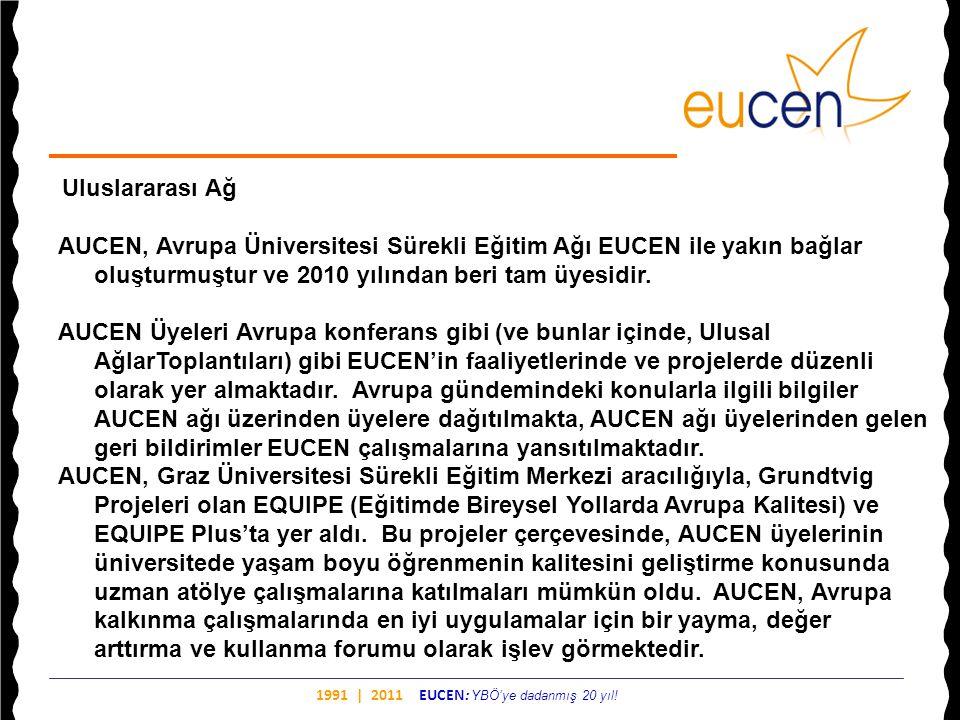 1991 | 2011 EUCEN: YBÖ'ye dadanmış 20 yıl! Uluslararası Ağ AUCEN, Avrupa Üniversitesi Sürekli Eğitim Ağı EUCEN ile yakın bağlar oluşturmuştur ve 2010