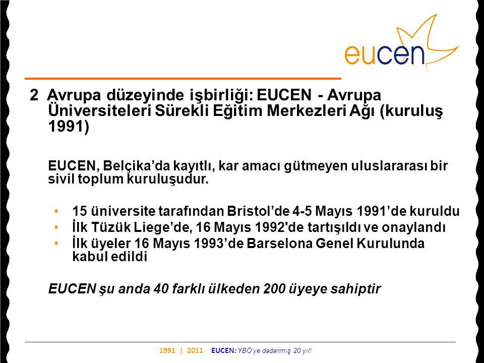 1991 | 2011 EUCEN: YBÖ'ye dadanmış 20 yıl! 2 Avrupa düzeyinde işbirliği: EUCEN - Avrupa Üniversiteleri Sürekli Eğitim Merkezleri Ağı (kuruluş 1991) EU