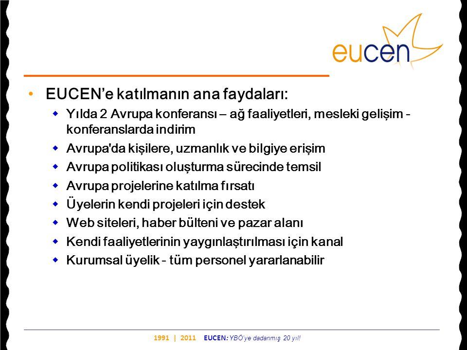 1991 | 2011 EUCEN: YBÖ'ye dadanmış 20 yıl! •EUCEN'e katılmanın ana faydaları:  Yılda 2 Avrupa konferansı – ağ faaliyetleri, mesleki gelişim - konfera