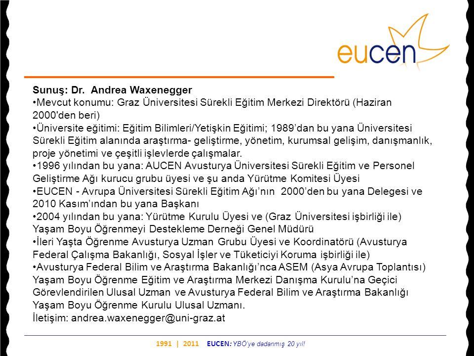 1991 | 2011 EUCEN: YBÖ'ye dadanmış 20 yıl! Sunuş: Dr. Andrea Waxenegger •Mevcut konumu: Graz Üniversitesi Sürekli Eğitim Merkezi Direktörü (Haziran 20