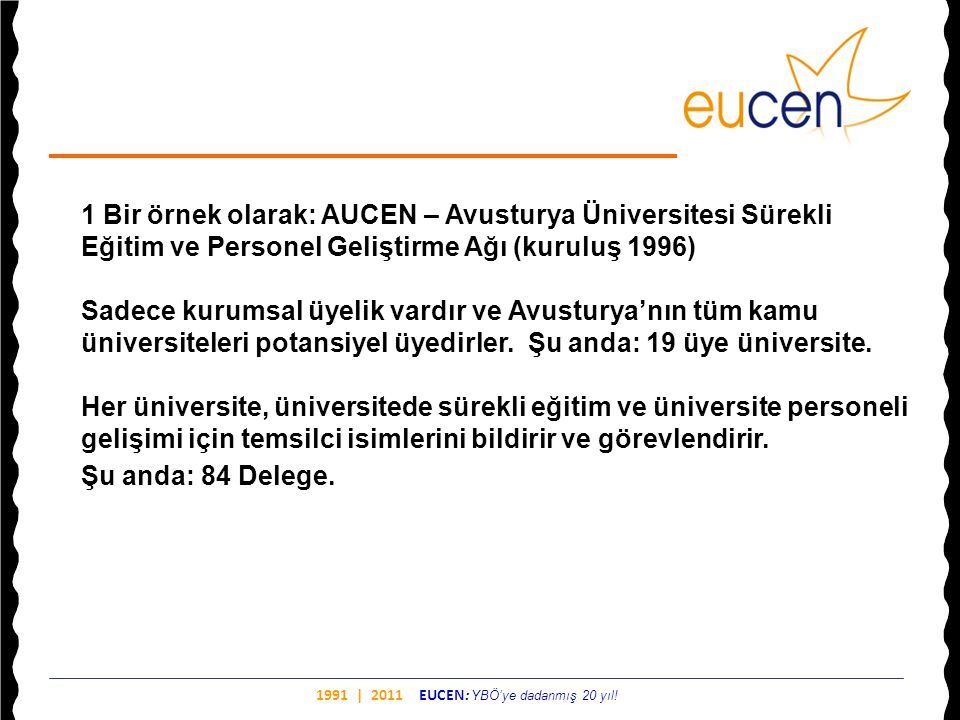 1991 | 2011 EUCEN: YBÖ'ye dadanmış 20 yıl! 1 Bir örnek olarak: AUCEN – Avusturya Üniversitesi Sürekli Eğitim ve Personel Geliştirme Ağı (kuruluş 1996)