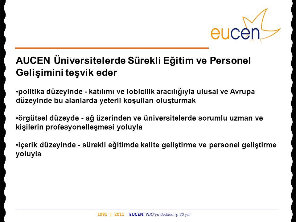 1991 | 2011 EUCEN: YBÖ'ye dadanmış 20 yıl! AUCEN Üniversitelerde Sürekli Eğitim ve Personel Gelişimini teşvik eder •politika düzeyinde - katılımı ve l