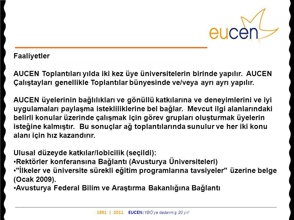 1991 | 2011 EUCEN: YBÖ'ye dadanmış 20 yıl! Faaliyetler AUCEN Toplantıları yılda iki kez üye üniversitelerin birinde yapılır. AUCEN Çalıştayları genell