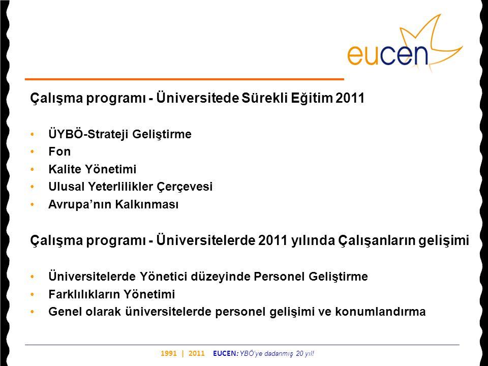 1991 | 2011 EUCEN: YBÖ'ye dadanmış 20 yıl! Çalışma programı - Üniversitede Sürekli Eğitim 2011 •ÜYBÖ-Strateji Geliştirme •Fon •Kalite Yönetimi •Ulusal