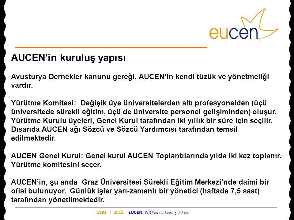 1991 | 2011 EUCEN: YBÖ'ye dadanmış 20 yıl! AUCEN'in kuruluş yapısı Avusturya Dernekler kanunu gereği, AUCEN'in kendi tüzük ve yönetmeliği vardır. Yürü