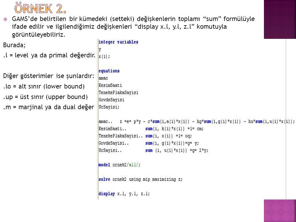  Optimal değerler; x1 = 0, x2 = 24, x3 = 0, x4 = 3, y = 60, z = 409.500