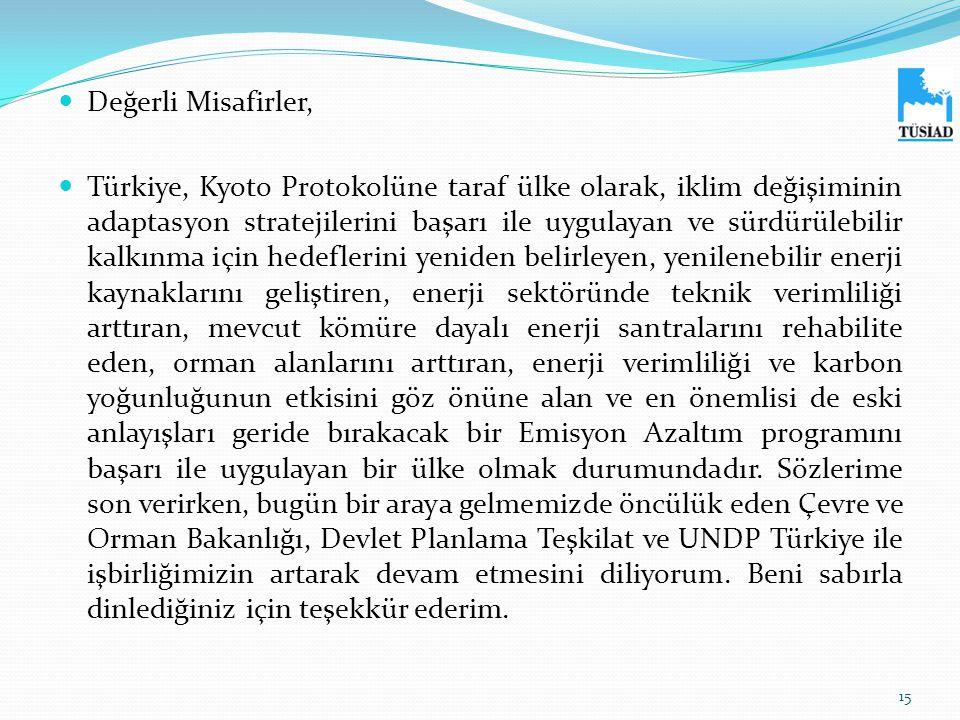  Değerli Misafirler,  Türkiye, Kyoto Protokolüne taraf ülke olarak, iklim değişiminin adaptasyon stratejilerini başarı ile uygulayan ve sürdürülebil