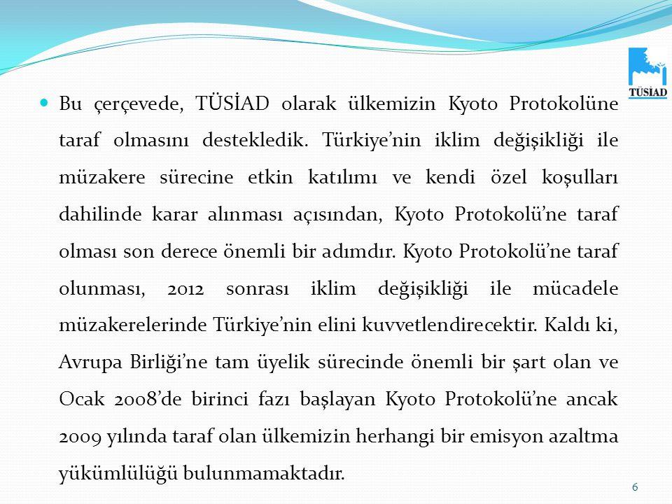  Bu çerçevede, TÜSİAD olarak ülkemizin Kyoto Protokolüne taraf olmasını destekledik. Türkiye'nin iklim değişikliği ile müzakere sürecine etkin katılı