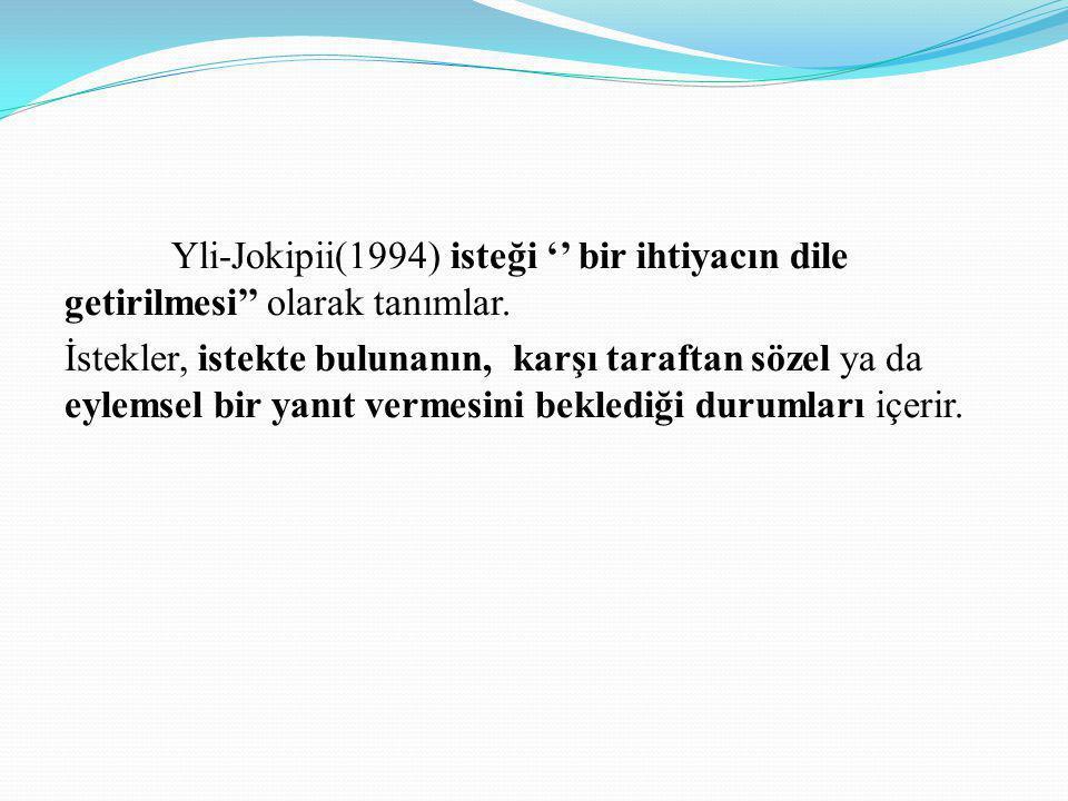 Yli-Jokipii(1994) isteği '' bir ihtiyacın dile getirilmesi'' olarak tanımlar. İstekler, istekte bulunanın, karşı taraftan sözel ya da eylemsel bir yan