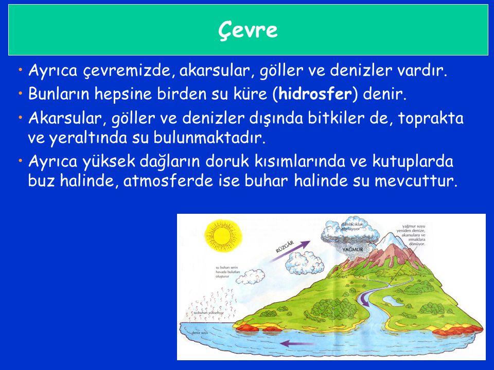 Çevre •Ayrıca çevremizde, akarsular, göller ve denizler vardır. •Bunların hepsine birden su küre (hidrosfer) denir. •Akarsular, göller ve denizler dış