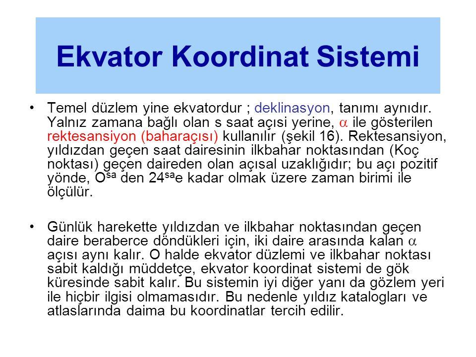 •Temel düzlem yine ekvatordur ; deklinasyon, tanımı aynıdır. Yalnız zamana bağlı olan s saat açısi yerine,  ile gösterilen rektesansiyon (baharaçısı)
