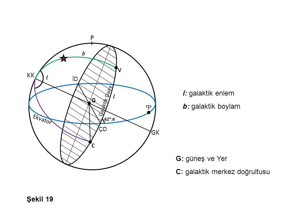 Galaktik Daire P Ekvator İD ÇD 62 .6 V GK G C KK ♈ l l b l: galaktik enlem b: galaktik boylam G: güneş ve Yer C: galaktik merkez doğrultusu Şekil 19