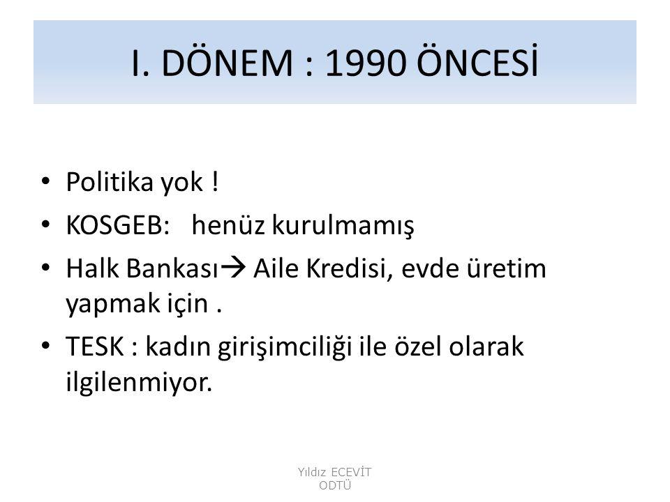 I.DÖNEM : 1990 ÖNCESİ • Politika yok .