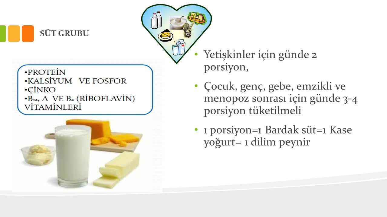 SÜT GRUBU • Yetişkinler için günde 2 porsiyon, • Çocuk, genç, gebe, emzikli ve menopoz sonrası için günde 3-4 porsiyon tüketilmeli • 1 porsiyon=1 Bard