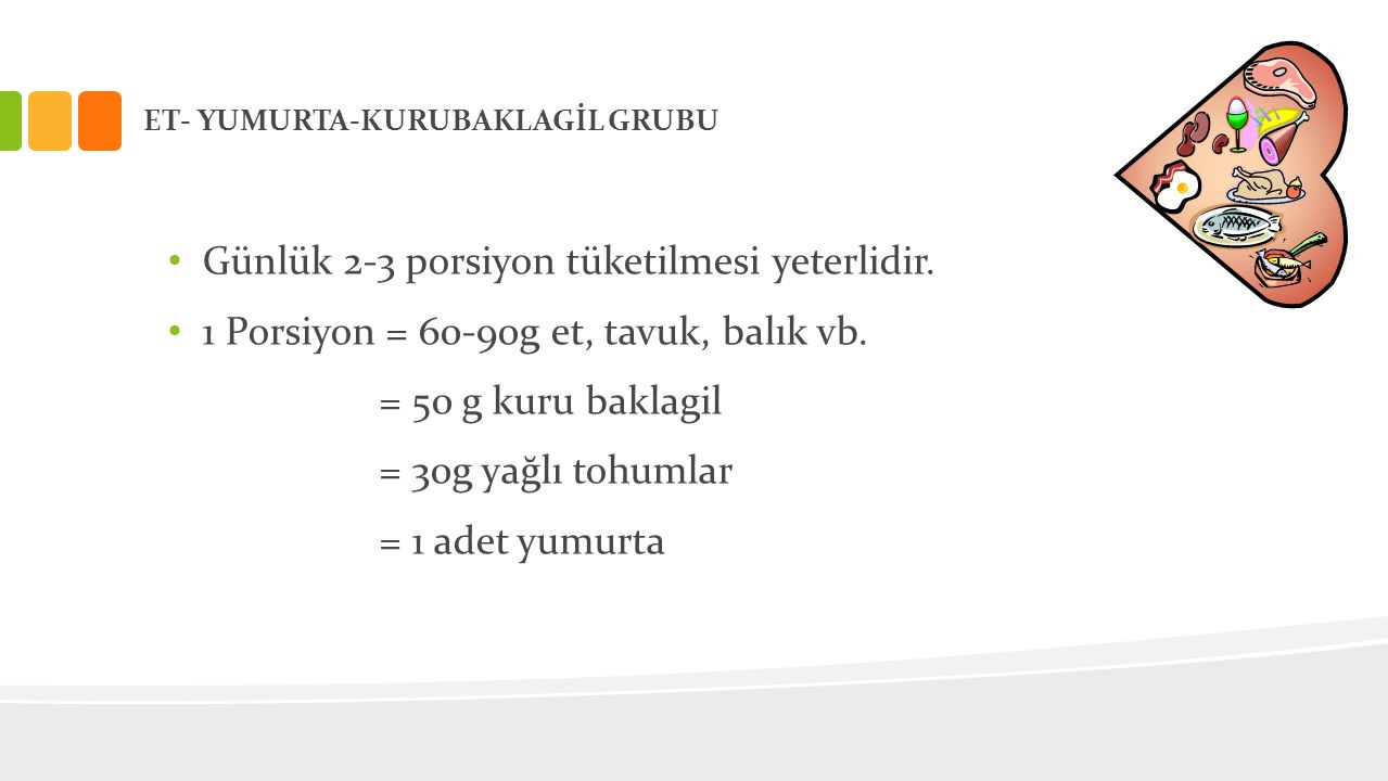ET- YUMURTA-KURUBAKLAGİL GRUBU • Günlük 2-3 porsiyon tüketilmesi yeterlidir. • 1 Porsiyon = 60-90g et, tavuk, balık vb. = 50 g kuru baklagil = 30g yağ