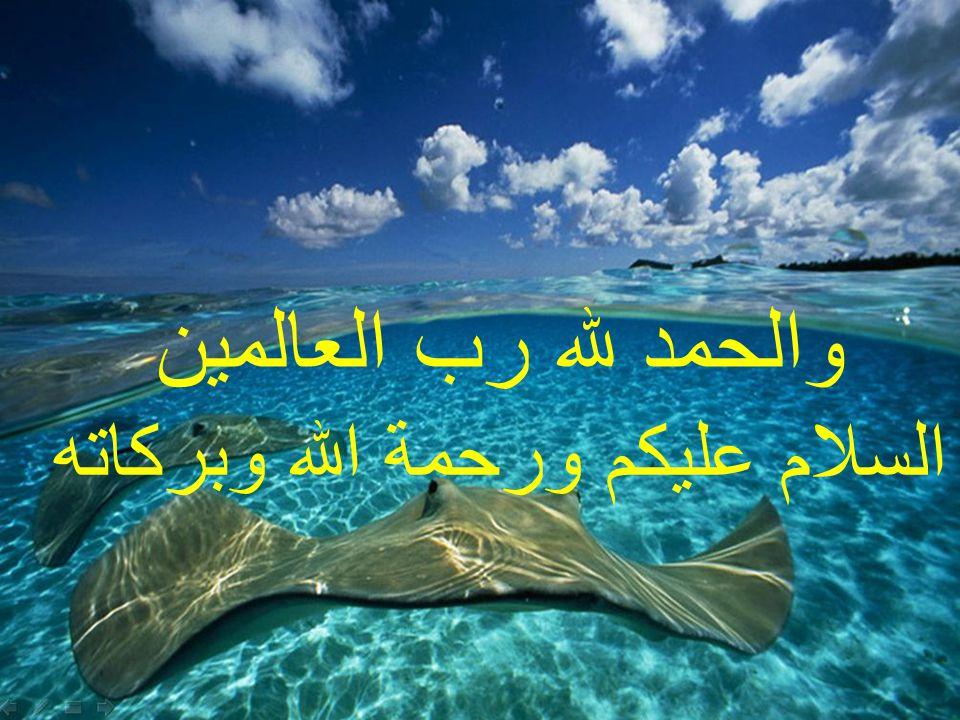 والحمد لله رب العالمين السلام عليكم ورحمة الله وبركاته