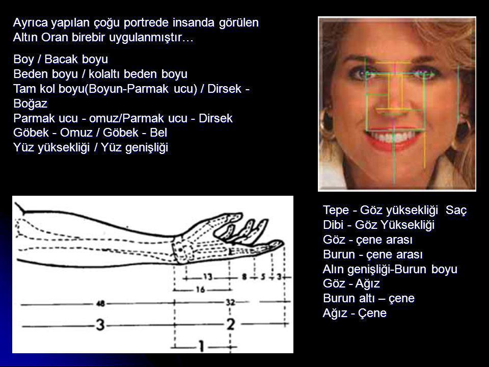 Ayrıca yapılan çoğu portrede insanda görülen Altın Oran birebir uygulanmıştır… Boy / Bacak boyu Beden boyu / kolaltı beden boyu Tam kol boyu(Boyun-Parmak ucu) / Dirsek - Boğaz Parmak ucu - omuz/Parmak ucu - Dirsek Göbek - Omuz / Göbek - Bel Yüz yüksekliği / Yüz genişliği Tepe - Göz yüksekliği Saç Dibi - Göz Yüksekliği Göz - çene arası Burun - çene arası Alın genişliği-Burun boyu Göz - Ağız Burun altı – çene Ağız - Çene