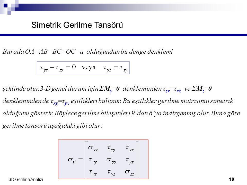 3D Gerilme Analizi 10 Simetrik Gerilme Tansörü Burada OA=AB=BC=OC=a olduğundan bu denge denklemi şeklinde olur.3-D genel durum için ΣM y =0 denklemind