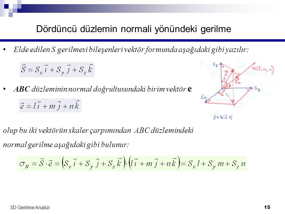 3D Gerilme Analizi 15 Dördüncü düzlemin normali yönündeki gerilme • Elde edilen S gerilmesi bileşenleri vektör formunda aşağıdaki gibi yazılır: • ABC