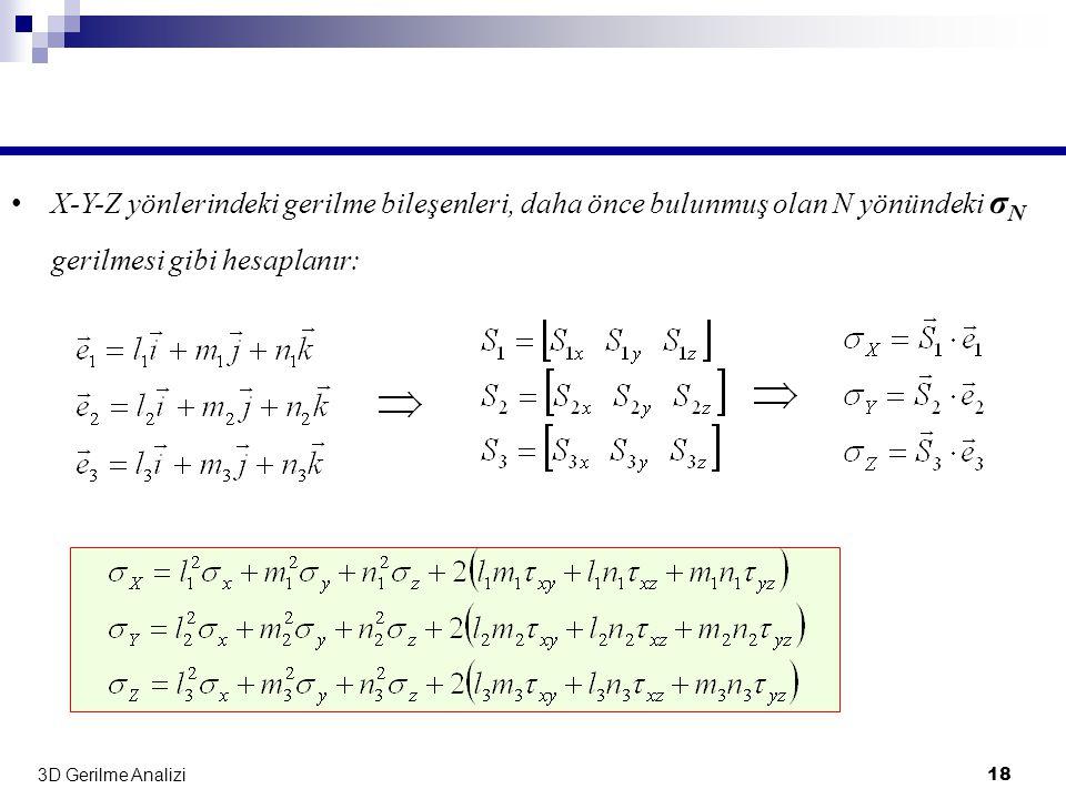 3D Gerilme Analizi 18 • X-Y-Z yönlerindeki gerilme bileşenleri, daha önce bulunmuş olan N yönündeki σ N gerilmesi gibi hesaplanır: