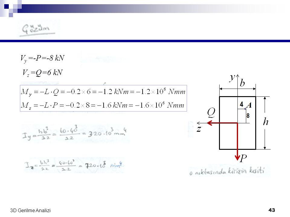 3D Gerilme Analizi 43 V y =-P=-8 kN V z =Q=6 kN