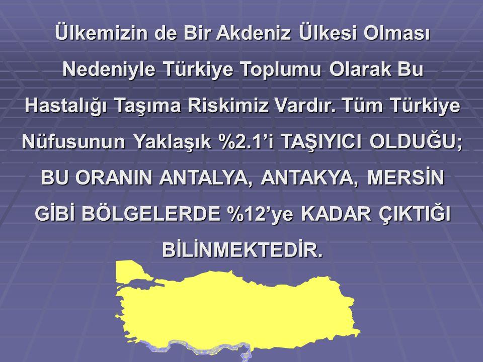 Ülkemizin de Bir Akdeniz Ülkesi Olması Nedeniyle Türkiye Toplumu Olarak Bu Hastalığı Taşıma Riskimiz Vardır. Tüm Türkiye Nüfusunun Yaklaşık %2.1'i TAŞ