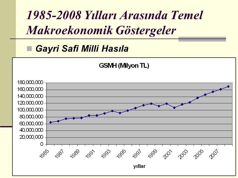 16 1985-2008 Yılları Arasında Temel Makroekonomik Göstergeler  Gayri Safi Milli Hasıla